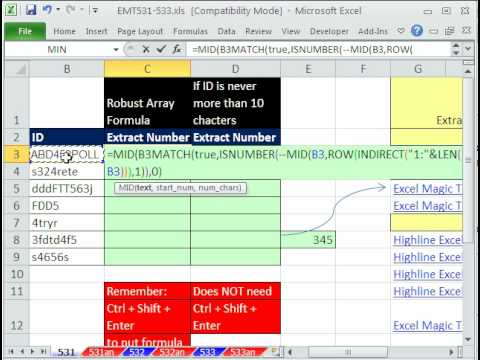 Excel Magic Trick 531: Extract Numbers from Middle of Text String BB34G to 34 (2 methods)