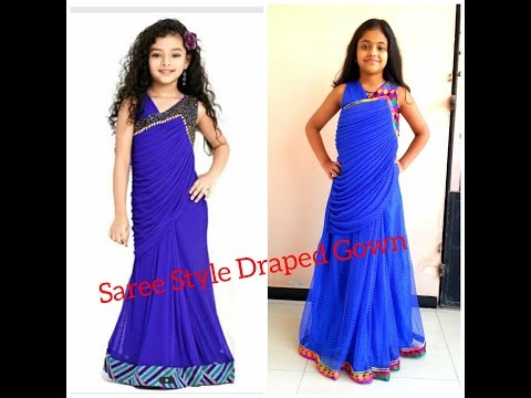How to stitch SAREE STYLE DRAPED GOWN/ SAREE LIKE GOWN