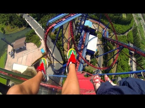 HUGE Vertical Drop !!! Diving Roller Coaster -  POV - Happy Valley Shanghai - GoPro Hero3 - HD 1080p