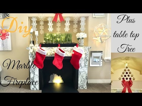 Diy Marble Fireplace With a Table Top Christmas Tree Quick Christmas Decor Ideas