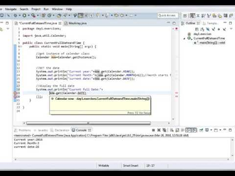 get Current Date and Time using Java Calendar class Part 2