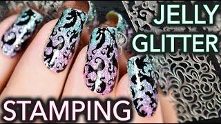 Jelly + Glitter Stamping elegant nail art