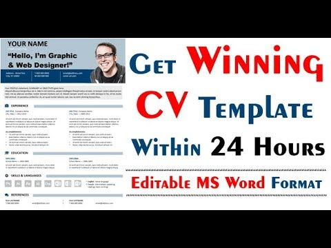 Get Free Winning CV Template in Editable Microsoft Word and PDF Format