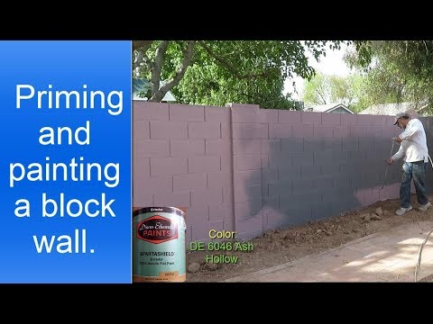Painting exterior cinder block wall/fence.