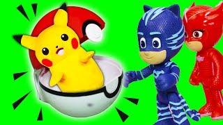 PJ MASKS Disney Junior Catboy Gekko Catch POKEMON PIKACHU + ASSISTANT Adventure Toy Video Parody