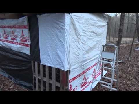 Putting Free Tarps On My Pallet Wood Shed pt2