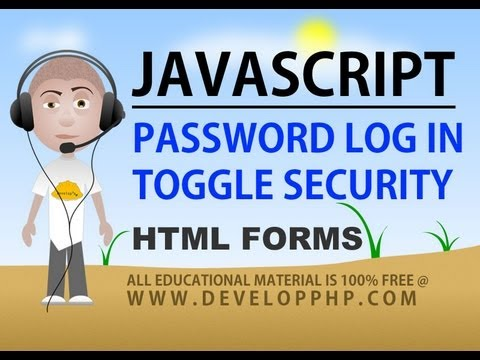 javascript toggle password security field text html form login switch tutorial