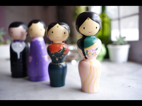 Hand Painted Wooden Peg Dolls