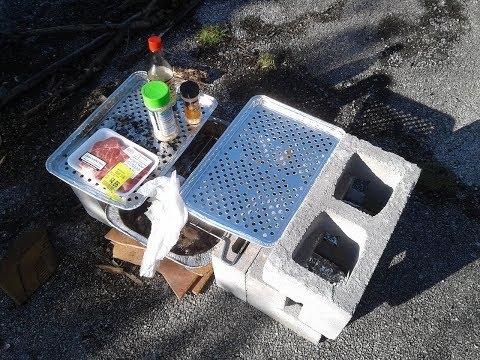 How To Make A Rocket Stove And Grill Using Cinder Blocks (V827) Cheap DIY Bushcraft Van Dweller