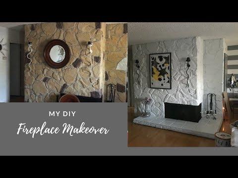Painting a Rock Fireplace - Diy