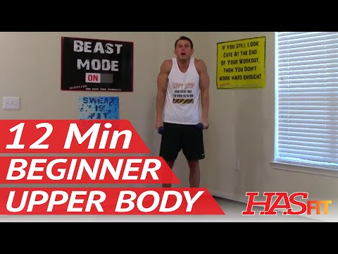 12 Min Beginner Upper Body - HASfit Easy Weight Exercises - Beginner Strength Training Easy Workouts