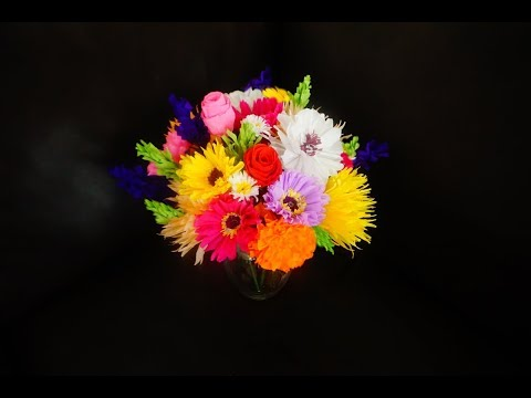 How to make colorful crepe paper flower bouquet - 7 types of flowers