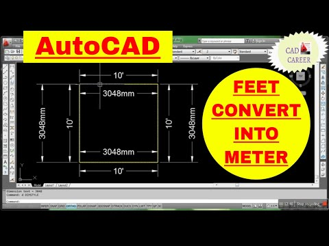 Units Conversation Feet convert into meter || how to convert feet drawing into meter in Autocad