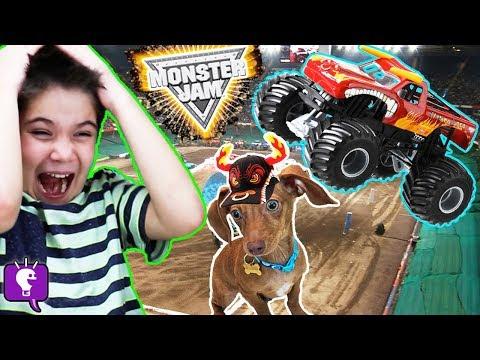 MONSTER TRUCK JAM! El Torro Loco Track and Video Game App PLAY with HobbyKidsTV