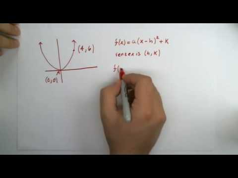 Find a Quadratic Function Given Its Vertex and One Other Point