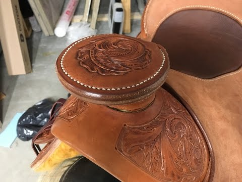 Saddle Making - sewing a wood post horn cap
