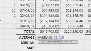 Sum Average Median Max Min Microsoft Excel