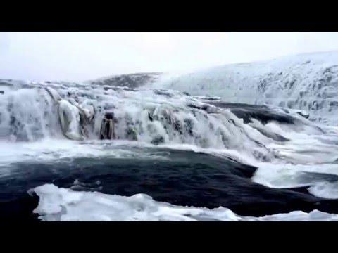 Gullfoss Waterfall in Icelandic Winter