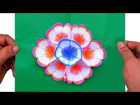 How to Make A 3D Flower Pop Up Greeting Card | Paper Quilling Art
