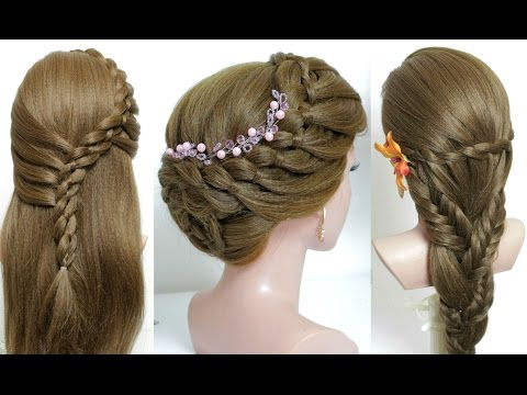 3 easy hairstyles for long hair tutorial.  Quick and cute braids