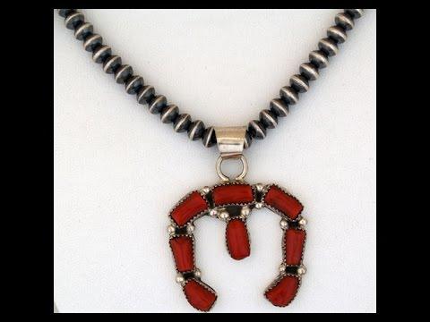 Navajo Sterling Silver Naja Coral Necklace (#46)