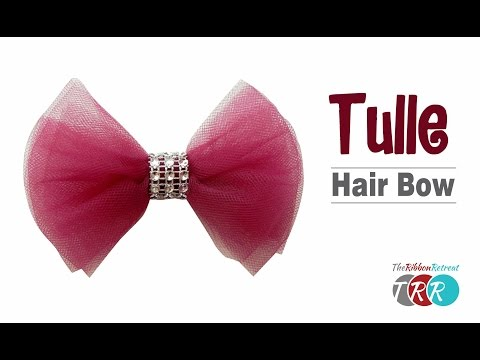 How to Make a Tulle Hair Bow - TheRibbonRetreat.com