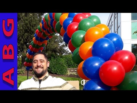 How to make a spiral balloon arch with 4 colors using helium