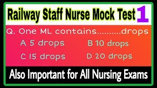 RRB Staff Nurse Exam Practice Question Answer|Model Paper For RRB