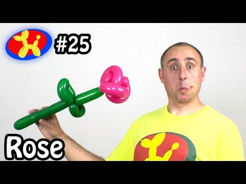Two Balloon Rose Flower - Balloon Animal Lessons #25 ( globoflexia)