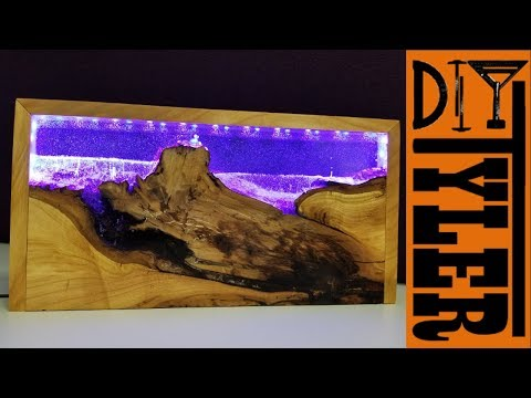 Wood and Resin LED Seascape Lamp