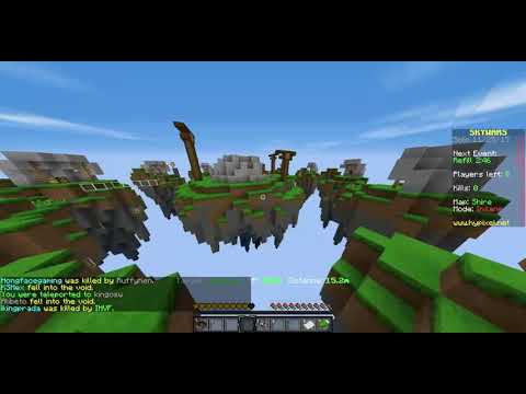 Playing mincraft hypixel sky wars
