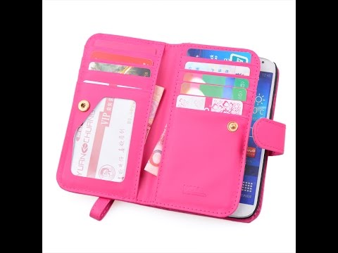PU Leather Women Handbag Cash Wallet + Phone Case for Samsung Galaxy S3 S4 S5 Note 2