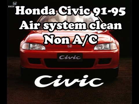 Honda Civic 1991-1995 Air system cleaning, NON A/C, Чистка радиатора печки