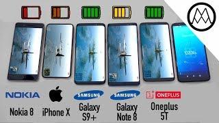 Samsung S9/ S9+ vs iPhone X vs Galaxy Note 8 Battery Life DRAIN TEST