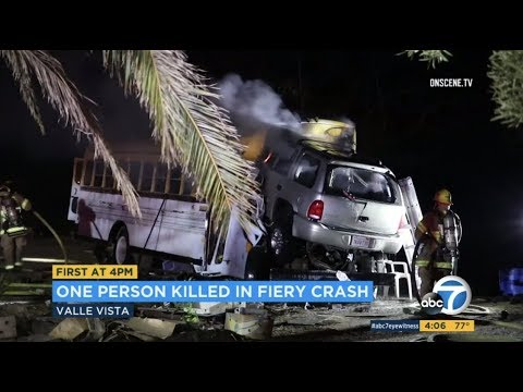 East Hemet: Driver Killed in Fiery Crash with Parked School Bus