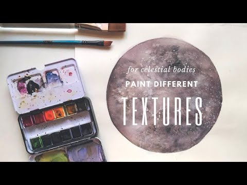 How to Paint Moon/Lunar Body || Creating Watercolor Textures | 수채화