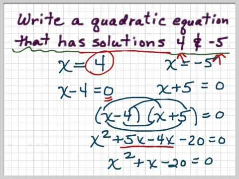 Write a quadratic equation given its solutions