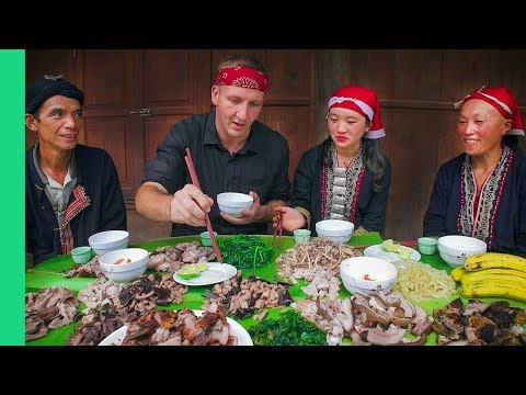 Potbelly Pig Cooked 7 Ways - Traditional cooking with Red Dao Family in Ta Phin Village, Vietnam!