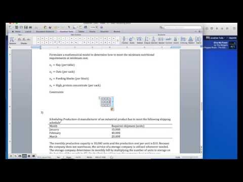 How to build a matrix in Microsoft word