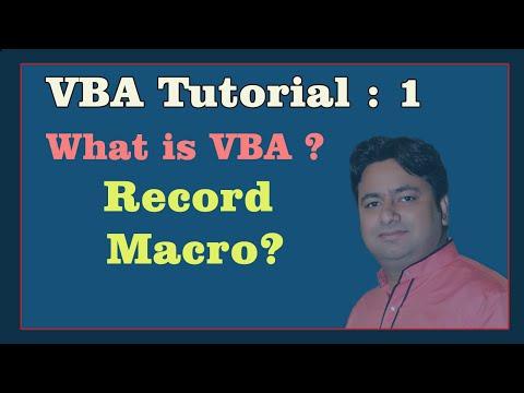 VBA - 1 : What is VBA and Record Macro First Program | Learn VBA | VBA tutorial by Manoj Sir
