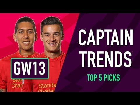CAPTAINCY TRENDS | Gameweek 13 | Fantasy Premier League 2016/17
