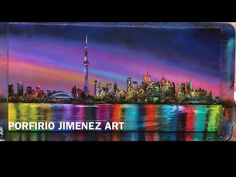 SKYLINE TORONTO CANADA SPRAY PAINT ART by Porfirio Jimenez