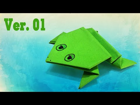 Kids easy origami - How to make a jumping frog ver.1