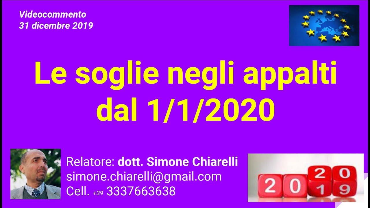 Le soglie negli appalti dal 1/1/2020 (31/12/2019)