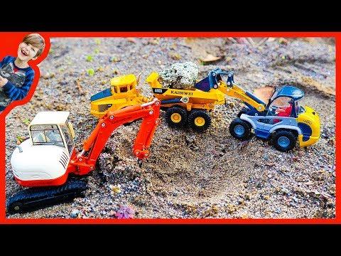 Construction Trucks For Children - Dump Truck and Excavator Digging For Treasure