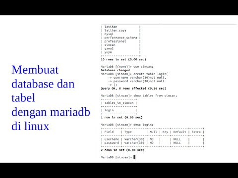 tutorial cara membuat database dan tabel di terminal linux