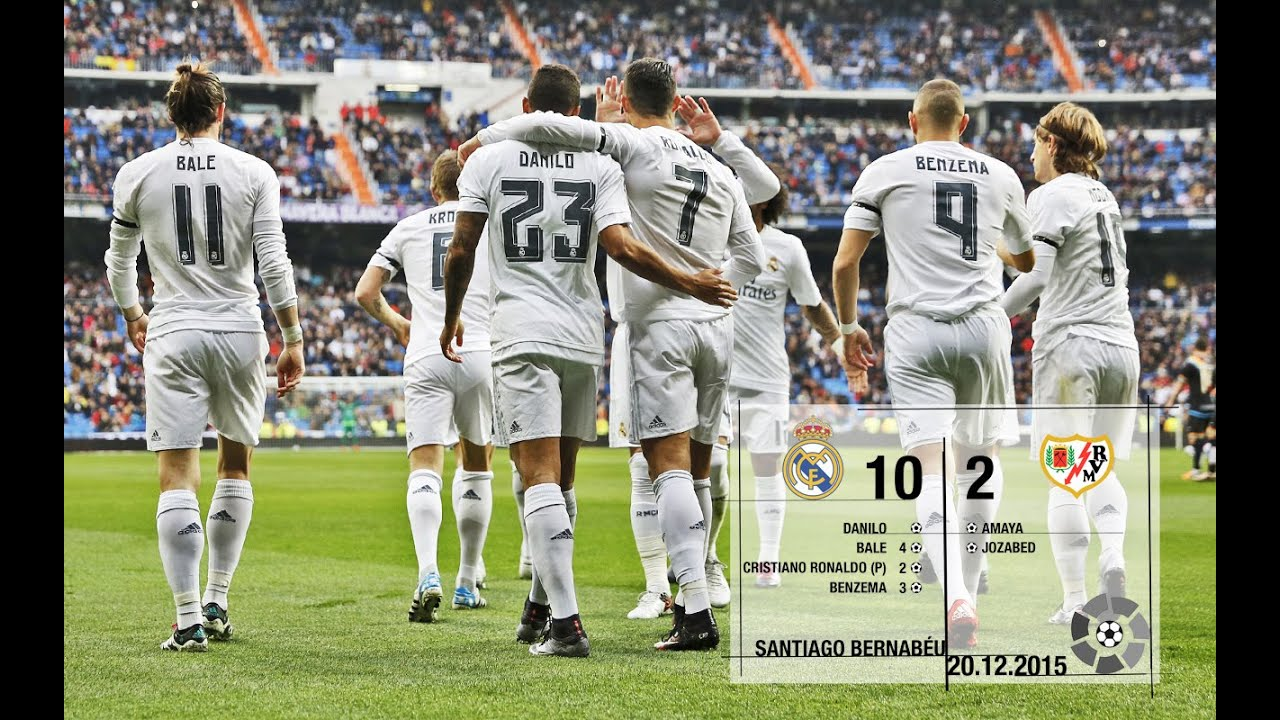 Real Madrid 10-2 Rayo Vallecano (La Liga 2015/16, matchday 16)
