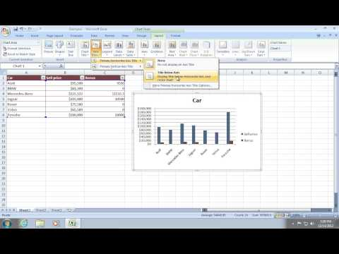 How to create an Excel 2007 bar Graph