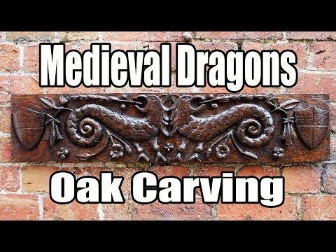 Medieval Dragons wood carving