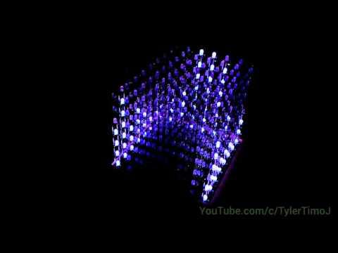 8x8x8 RGB LED Cube Spectrum Analyzer DEMO